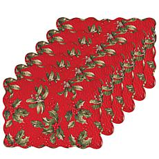 C&F Home Holly Bouquet Cotton Quilted Oblong Placemat Set of 6