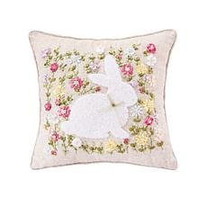 C&F Home Meadow Bunny Hand Crafted Ribbon Art Pillow