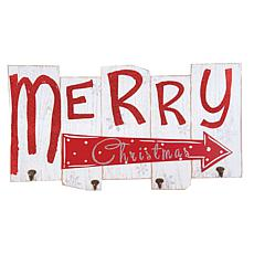 C&F Home Merry Christmas Sign W/ Hooks