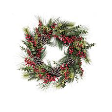 C&F Home Opulent Berry Pinecone Wreath