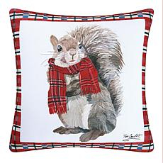 C&F Home Plaid Squirrel Pillow