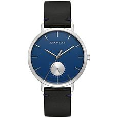 Caravelle by Bulova Men's Blue Dial Black Leather Strap Watch