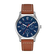 Caravelle by Bulova Men's Blue Dial Brown Leather Strap Watch