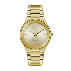 CARAVELLE Designed by Bulova Men's Gold-Tone Diamond Watch, Champag...