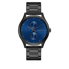 Caravelle Gunmetaltone Men's Blue Dial Subdial Bracelet Watch