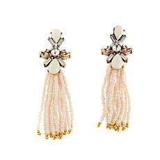 Caroline Hill  Stone and Seed Bead Tassel Earrings