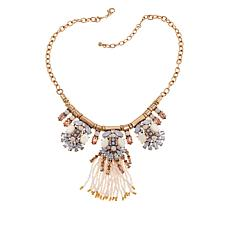 "Caroline Hill ""Valen"" Stone and Seed Bead Tassel 18"" Necklace"