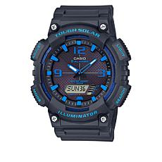 Casio Men's Gray and Blue Solar Analog-Digital Watch