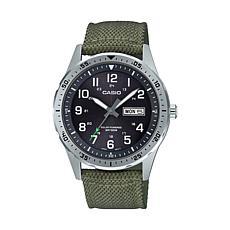 Casio Men's Solar-Powered Analog Green Nylon Strap Watch