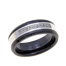 Ceramic and Stainless Steel Diamond-Accent Wedding Band
