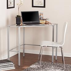 Chace Metal Glass Corner Desk - Silver