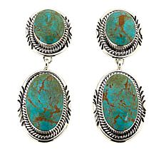 Chaco Canyon Green Turquoise 2-Stone Drop Sterling Silver Earrings