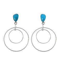 Chaco Canyon  Kingman Turquoise Double-Hoop Dangle Earrings