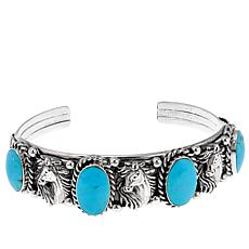 Chaco Canyon Kingman Turquoise Horse Sterling Silver Cuff Bracelet