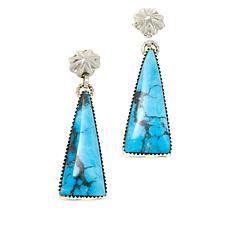 Chaco Canyon Kingman Turquoise Triangular Drop Earrings