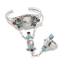 "Chaco Canyon Multigemstone ""Princess"" Cuff and Ring"