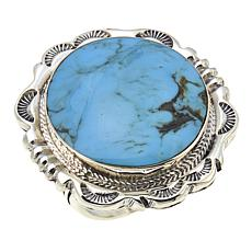 Chaco Canyon Navajo Statement Kingman Turquoise Sterling Silver  Ring