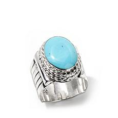 Chaco Canyon Oval Kingman Turquoise Sterling Men's Ring