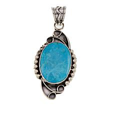 Chaco Canyon Oval Kingman Turquoise Sterling Silver Bead Frame Pendant