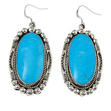 Chaco Canyon Oval Kingman Turquoise Sterling Silver Drop Earrings