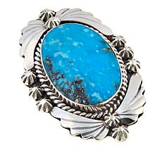 Chaco Canyon Oval Kingman Turquoise Sterling Silver Navajo Ring