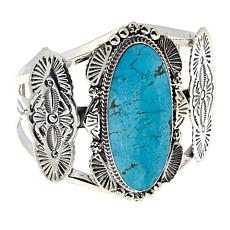 Chaco Canyon Oval Kingman Turquoise  Sterling Silver Statement Cuff