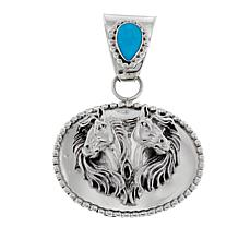 "Chaco Canyon Pear Kingman Turquoise  Sterling Silver ""Horse"" Pendant"