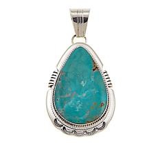 Chaco Canyon Pear-Shaped Ceremonial Green Turquoise Pendant