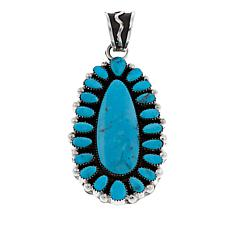 Chaco Canyon Pear-Shaped Kingman Turquoise Cluster Pendant