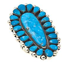 Chaco Canyon Pear-Shaped Kingman Turquoise Cluster Ring