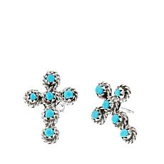Chaco Canyon Sleeping Beauty Turquoise Cross Earrings