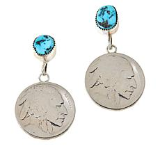 "Chaco Canyon Sleeping Beauty Turquoise ""Indian Head"" Coin Earrings"