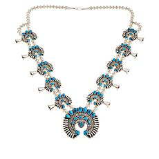 Chaco Canyon Sleeping Beauty Turquoise Squash Blossom Necklace
