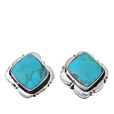 Chaco Canyon Square Kingman Turquoise Stud Earrings