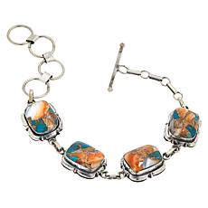 Chaco Canyon Sterling Silver 4-Stone Link Toggle Bracelet