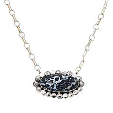 Chaco Canyon Sterling Silver Gemstone Oval Drop Necklace