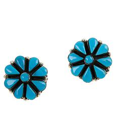Chaco Canyon Sterling Silver Kingman Turquoise Flower  Stud Earrings