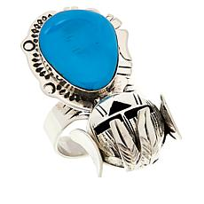 Chaco Canyon Sterling Silver Kingman Turquoise Hopi Kachina Ring