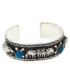 Chaco Canyon Sterling Silver Kingman Turquoise Wolf Cuff