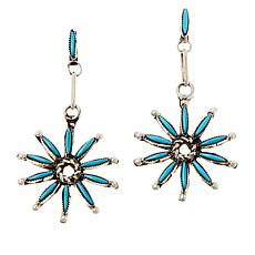 Chaco Canyon Sterling Silver Kingman Turquoise Zuni Star Drop Earrings