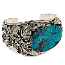 Chaco Canyon Sterling Silver Oval Kingman Turquoise Cuff