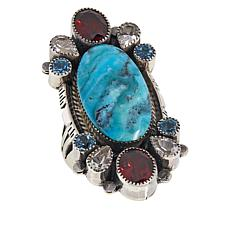 Chaco Canyon Sterling Silver Oval Turquoise and Multi-Gemstone Ring
