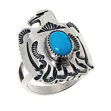 Chaco Canyon Sterling Silver Sleeping Beauty Turquoise Eagle Ring