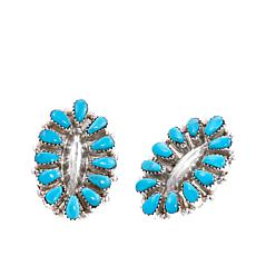 Chaco Canyon Zuni Sleeping Beauty Turquoise Cluster Stud Earrings