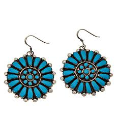 Chaco Canyon Zuni Sleeping Beauty Turquoise Round Drop Earrings