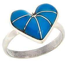 Chaco Canyon Zuni Sterling Silver Turquoise Heart Ring