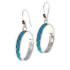 Chaco Canyon Zuni Turquoise and Garnet Circle Drop Earrings