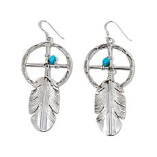 Chaco CanyonTurquoise Sterling Dreamcatcher Earrings