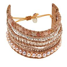 Chan Luu Pink Cultured Pearl and Mixed Stone  Leather Wrap Bracelet