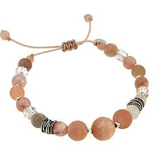 Chan Luu Sunstone and Clear Crystal Adjustable Pull-String Bracelet